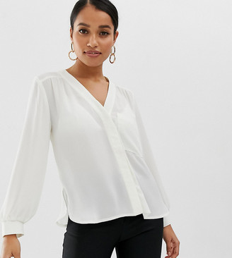 Asos DESIGN Petite long sleeve blouse with pocket detail