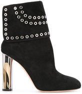 Alexander McQueen eyelet flap heeled ankle boots - women - Calf Leather/Leather - 37.5
