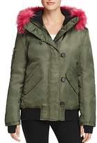 Aqua Faux Fur-Trim Hooded Bomber Jacket - 100% Exclusive