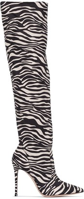 Gianvito Rossi 115mm Zebra-Print Knee-High Boots