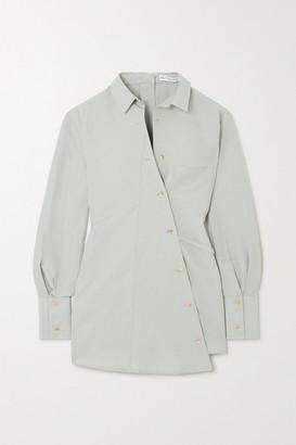 REJINA PYO Tatiana Asymmetric Tie-detailed Cotton And Linen-blend Shirt - Gray green