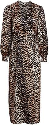 Ganni Stretch Silk Satin Leopard Wrap Dress
