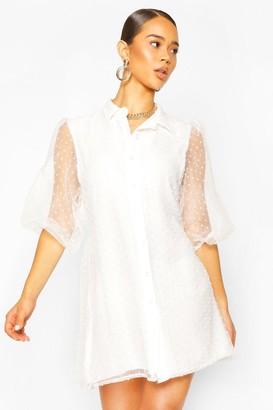 boohoo Organza Dobby Mesh Shirt Dress