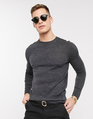 Asos Design DESIGN knitted muscle fit crew neck sweater in charcoal-Gray