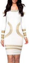FashionMark Womens Long Sleeves Celebrity Kim Kardashian Gold Foil Cocktail Dress