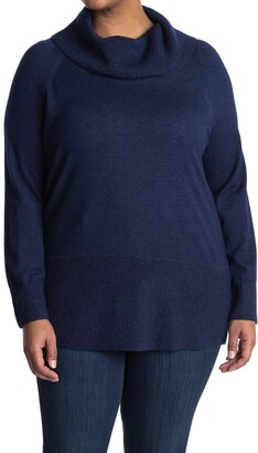 Cyrus Long Cowl Neck Sweater With Textured Trim