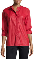 Escada Long-Sleeve Snap-Front Leather Shirt