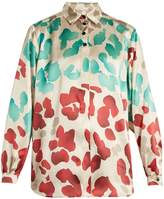 Marco De Vincenzo Painterly-print silk-satin shirt