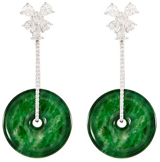 Lc Collection Jade Diamond jade 18k white gold disc drop earrings