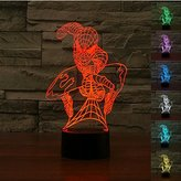 Padaday 3D Spiderman bulbing illusion 100~240v bedroom night multi 7 color changing LED desk table light lamp