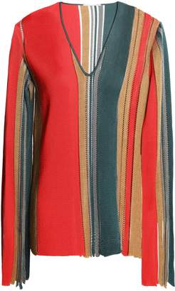 Marco De Vincenzo Fringed Color-block Knitted Sweater