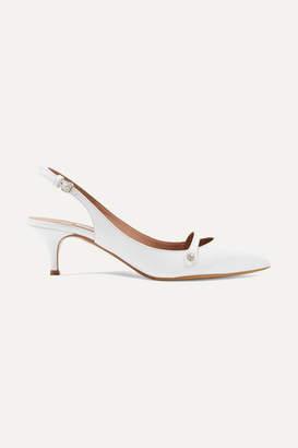 Tabitha Simmons Layton Crystal-embellished Leather Slingback Pumps - White