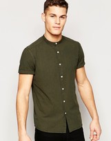 Asos Laundered Shirt In Khaki With Grandad Collar In Short Sleeve In Regaular fit