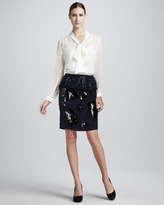 DKNY Dolores Peplum Sequined Skirt