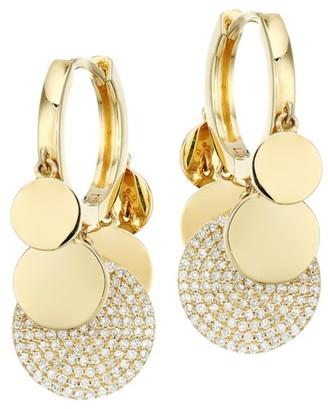 Nina Gilin 18K Yellow Gold & Diamond Charm Hoop Earrings