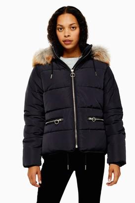 Topshop PETITE Navy Faux Fur Hooded Puffer Jacket