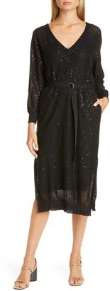 Brunello Cucinelli Belted Long Sleeve Sequin Linen & Silk Midi Sweater Dress