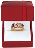 LeVian Chocolatier 0.54TCW Vanilla Diamonds, Peach Morganite, Raspberry Rhodolite and 14K Rose Gold Ring