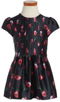 Oscar de la Renta 'Painted Poppies' Pintuck Mikado Party Dress (Toddler Girls & Little Girls)