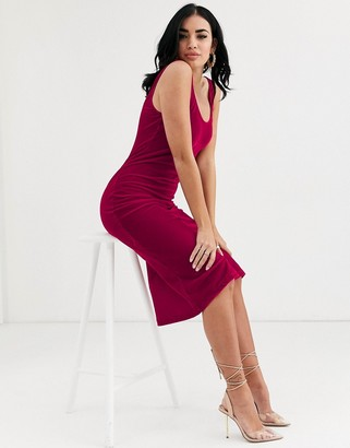Asos Design DESIGN velvet scoop neck midi slip dress-Pink