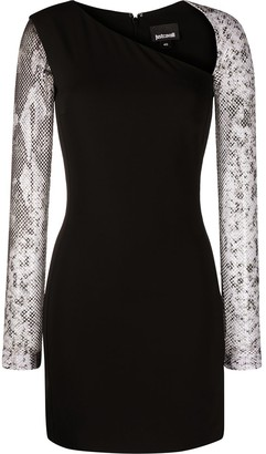 Just Cavalli Snakeskin-Print Mesh-Sleeve Dress