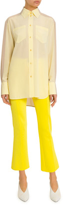 Givenchy Long Two-Tone Georgette Button-Front Shirt