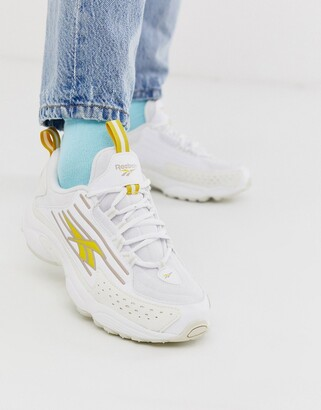 Reebok DMX 2K trainers in white and yellow
