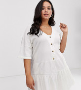 Asos DESIGN Curve textured button through smock dress with tiered skirt