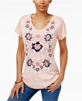 Style&Co. Style & Co Petite Embroidered Graphic T-Shirt, Only at Macy's