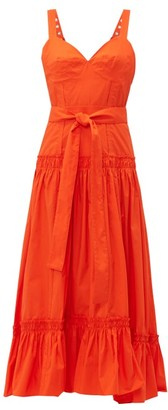 Proenza Schouler Buckle Strap Cotton Poplin Dress - Womens - Orange