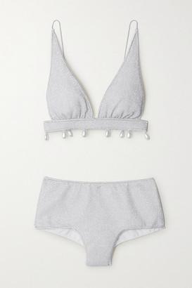 Oseree Lumiere Faux Pearl-embellished Stretch-lurex Triangle Bikini - Silver