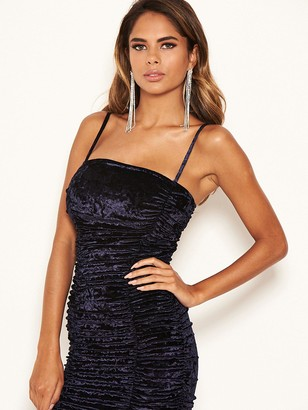 AX Paris Velvet Ruched Bodycon Dress - Midnight