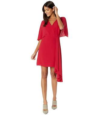 Halston Flowy Short Sleeve Faux Wrap Dress