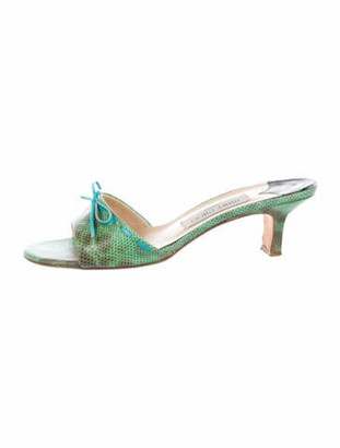 Jimmy Choo Snakeskin Bow Accents Slides Green