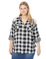 Vintage America Blues Women's Plus Size Chiara Roll Sleeve Button Front Plaid Lace Shirt