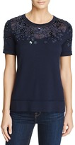 Elie Tahari Haldey Short Sleeve Embellished Sweater