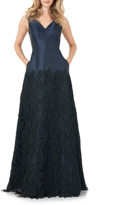 Kay Unger Guipure Lace Mikado A-Line Gown