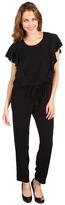 DKNY DKNYC - Cap Sleeve Ruffle Front Jumpsuit (Black) - Apparel