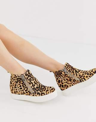 Steve Madden Wedgie leopard print side zip hidden wedge sneakers-Multi