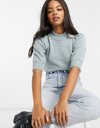 JDY jumper with short puffed sleeves in blue