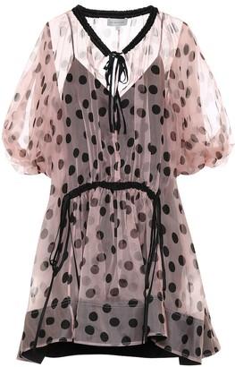 Lee Mathews Rayne polka-dot silk-organza dress