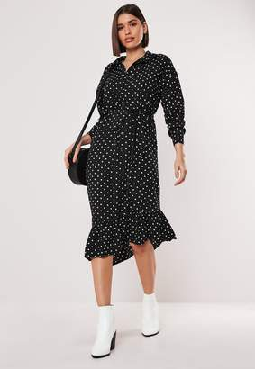 Missguided Black Polka Dot Midi Shirt Dress