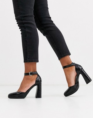 New Look platform leather look croc heel in black