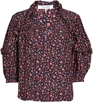Frame Cali Ruffled Silk Floral Top