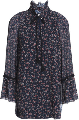 See by Chloe Ruffled Lace-trimmed Floral-print Georgette Blouse