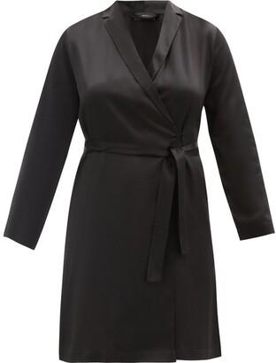 La Perla Belted Short Silk Robe - Black