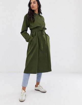 Asos Design DESIGN longline trench coat-Green