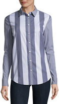 BELLE + SKY Long Sleeve Cowl Back Button Down Shirt