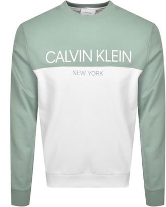 Calvin Klein Colour Block Logo Sweatshirt Green