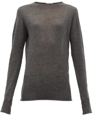 Raey Sheer Raw-edge Crew-neck Cashmere Sweater - Charcoal